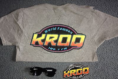 World Famous KROQ 106.7 FM T-shirt Size Small, Sunglasses and Sticker Package