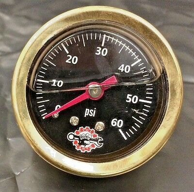 BRASS HARLEY LIQUID FILLED OIL PRESSURE GAUGE 60PSI hd chopper bobber black 60