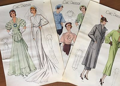 3 Prints Chic Parisien March 1935 Woman's Fashion Designer Bridal Design Paris