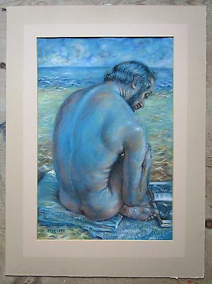 Shirley Stopford Taylor-Original Vintage Male Nude Portrait in Oil Pastel's