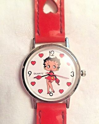 Vtg 1993 Betty Boop Quartz Watch W/Red Heart Cutouts Band-Bright Ideas Unlimited
