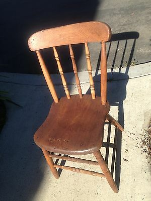 Antique Country Plank Solid Wood Chair in Very Good Condition