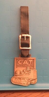 Vintage Caterpillar Track Tractor Advertising Luggage Tag Watch Fob Leather