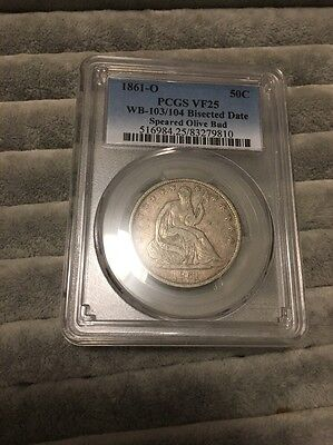 1861 O  Seated Half Dollar WB-103/104 Bisected date  & Olive Bud PCGS VF25
