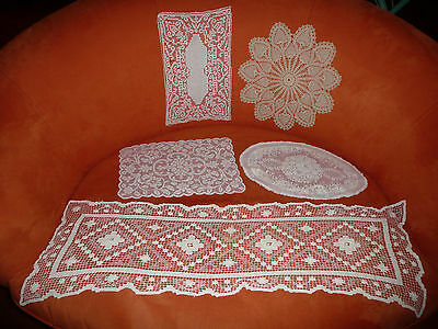 "Stunning Antique Lot of 5 Hand Made Doilies - 15""- 42"""