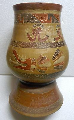 Ancient Mayan Style Hand Thrown & Etched Polychrome Tall Pottery Vessel Mint