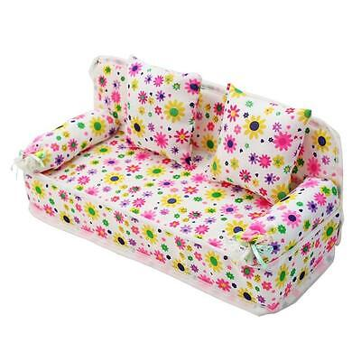 Dollhouse Furniture Set Miniature Living Room Floral Sofa Couch + Cushion LIN