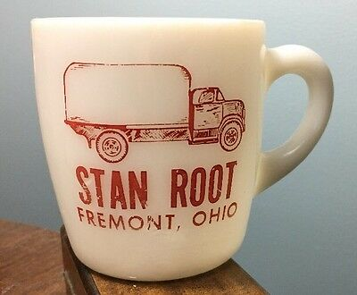 RARE Fremont Ohio STAN ROOT TRUCKING Advertising Milk Glass Coffee Mug Box Truck