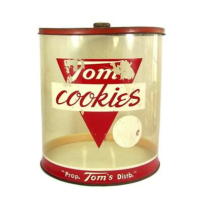"""Vintage TOM'S COOKIES JAR 12"""" Counter Top Store Display Container Rare"""