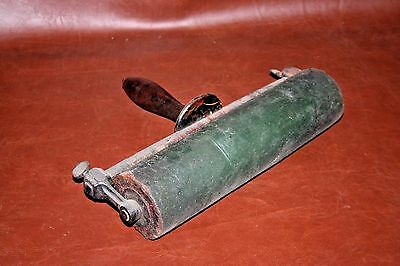 """RARE 12"""" Wide Large Antique Printer's Rolling Rubber Ink Press w/ Wooden Handle"""