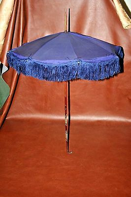 Antique Fancy Victorian Blue Silk Parasol w/ Mother of Pearl Inlaid Wood Handle