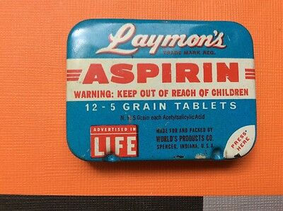 Layman's Aspirin Mini Pocket Tin Spencer IN Vintage  Advertising Life Magazine