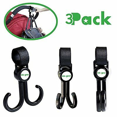 Stroller Hooks 3 Pack Multi-Purpose Rotating Great For Strollers And More