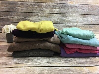 Lot of 10 Cashmere Sweaters - Diff. Sizes, Flaws/Defects, Repurpose Cutter Craft