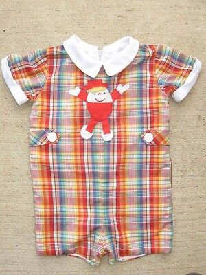 Boys Outfit Romper Lord & Taylor Betti Terrell Baby Toddler 18 24 mo Plaid