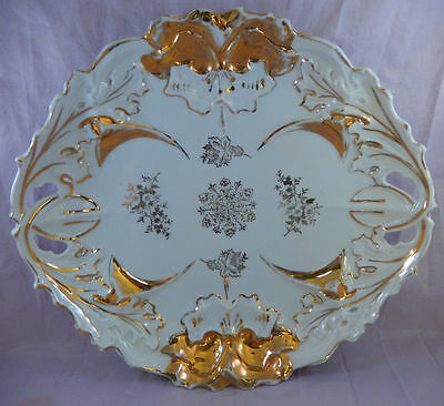 """Antique Plate Marked IPF Germany w/ Embossed Pattern Gold Trim Reticulated 10"""""""