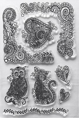 NEW• CAT & OWL HEARTS CLEAR STAMPS 8 Piece SET Stamping