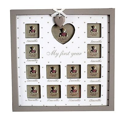 My First Year Timber White Modern Baby Photo Frame Gallery Newborn Present Gift