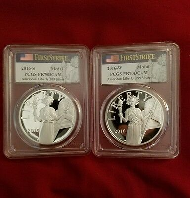 2016 S & W American Liberty Proof Silver Medal Pcgs Pr70 Dcam First Strike Label