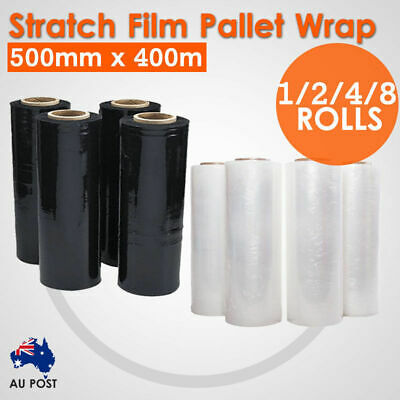 1/2/4/8 Rolls 500mmx400m Stretch Film Pallet Wrap Carton Shrink 20UM BLACK/CLEAR