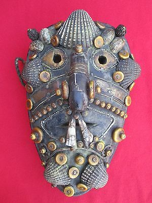 Museum Quality Naga Headhunter Mask With Shells, Bone Beads, Teeth & Adornments
