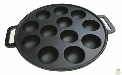 12 Dimple Cast Iron Poffertjes Mini Dutch Pancake Cake Pan with Handles New