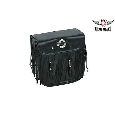 MOTORCYCLE GENUINE LEATHER SISSY BAR BARREL BAG w// USA FLAG PATCHES FOR YAMAHA
