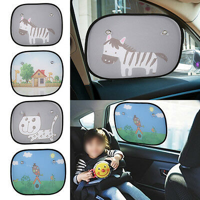 2Pcs Cartoon Car Sun Shade UV Ray Blocking Baby Kids Window Sunshade Mesh Fabric