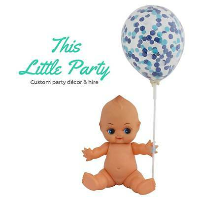 Blue Confetti Mini Balloons 3pk Boy Baby Shower Party Decorations Cake Topper