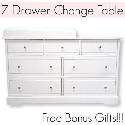 7 DRAWER WHITE Baby Change Table Chest Dresser Cabinet Changer Nursery