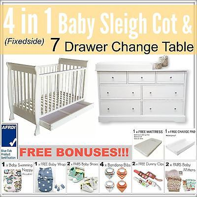4 in 1 FIXEDSIDE Baby Sleigh Cot and 7 DRAWER WHITE Change Table Package