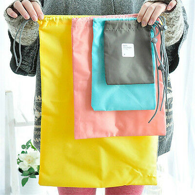 4pcs Outdoor Travel Waterproof Nylon Drawstring Storage Bags Pouch Organizer Bag