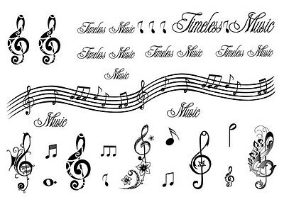 Waterproof Temporary Fake Tattoo Stickers Music Notes English Letters