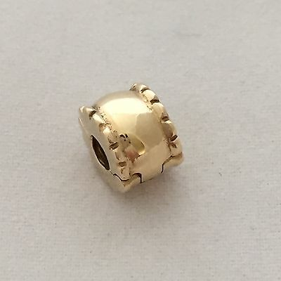 PANDORA Genuine 14 carat Gold Whisper Clip Charm 750256 RRP $319 RETIRED