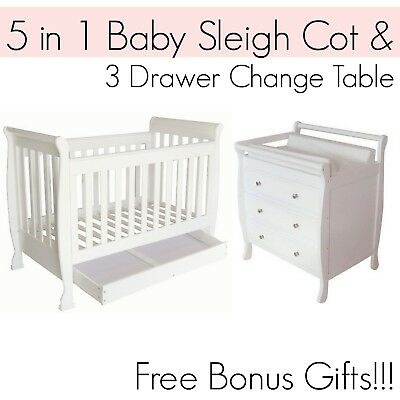 5 in 1 Dropside Baby Sleigh Cot and 3 DRAWER WHITE Change Table Package