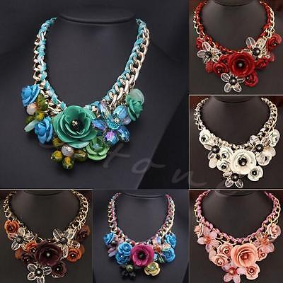 Collar Flower Necklace Fashion Pendant Jewelry Crystal Statement Chunky Choker