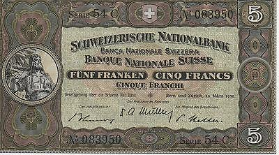 SWISS - 1952 - UNC Note - 5 Francs