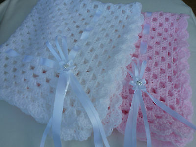 "Hand Crochet Baby Pram/Crib/Car Seat/Shawl/ Comfort Blanket ""NEW"" 30""x30"" approx"