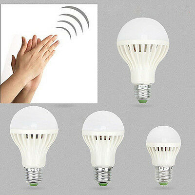 E27 220V 3-12W 5730 LED Sound Voice Control Sensor Light Bulb Lamp White *1