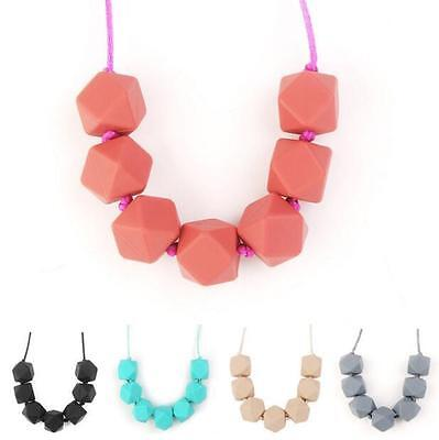 Teething Baby Charm Silicone BPA-Free Necklace Beads Teether Cute Chain Polygon