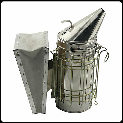 "New 11""x4"" Bee Hive Smoker Stainless Steel w/ Heat Shield Beekeeping Equipment"