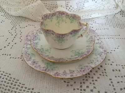 Old Foley pre Shelley Antique Trio - Green/Mauve/White - Superb Fine China