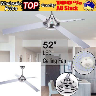 """52"""" LED White Ceiling Fan Remote Option Brilliant Light 4 Blade Stainless Steel"""