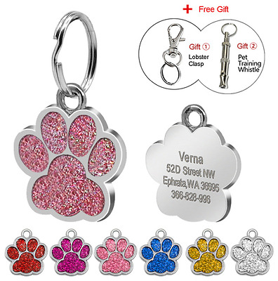Dog/Cat Custom ID Tag - Glitter Paw Personalised Sparkle Pet Engraved + Adress