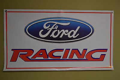 FORD RACING BANNER Sign Flag Logo MUSTANG 1969 SVT Cobra Shelby Free Ship Banner
