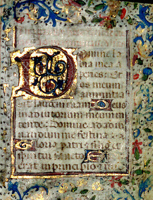 c1460 Illuminated MEDIEVAL Book of Hours MINIATURE Manuscript VELLUM Leaf BIBLE