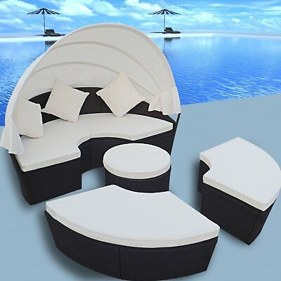 #2 in 1 Rattan Outdoor Furniture Day Bed Sun Lounger Setting w/ Canopy Black