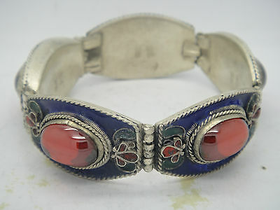 Collection Tibetan culture handwork inlay red zircon cloisonne flower bracelet