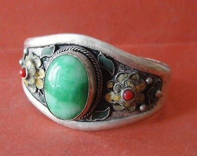 chinese Old tibet-silver handwork inlay green jade bead bracelet yellow flower