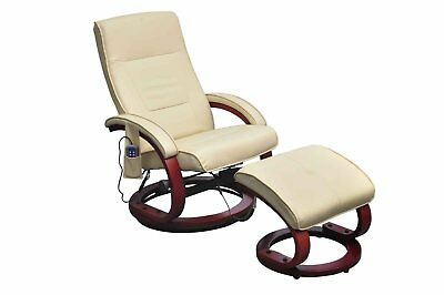 # Leather Massage Recliner TV Chair Stool Set Electric Remote Control Cream Offi